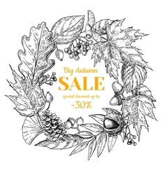 Autumn sale wreath banner with leaves and vector