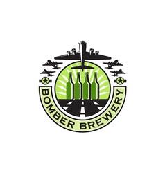 B-17 Heavy Bomber Beer Bottle Brewery Retro vector image vector image