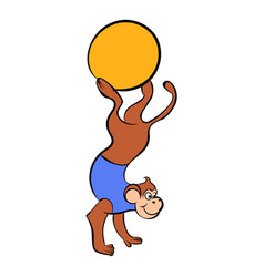 circus monkey on the ball icon cartoon vector image vector image