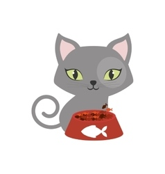 Gray small cat green eyes plate food fish print vector