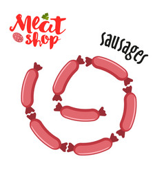meat - sausages fresh meat icon vector image vector image