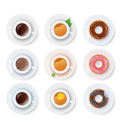 Tea and coffee with donuts vector image