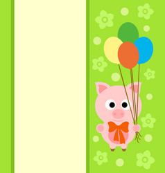 background card with funny pig vector image vector image