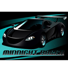 Black midnight racer sports car vector image vector image