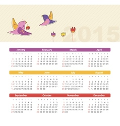 Calendar 2015 year with birds vector image vector image