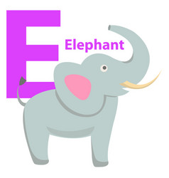 children s alphabet icon cartoon elephant letter e vector image vector image