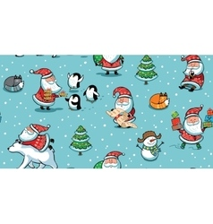Christmas and New Year holiday pattern with funny vector image
