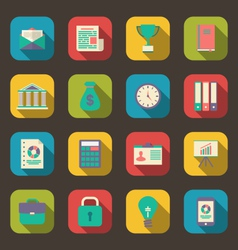 flat colorful icons of web business and financial vector image