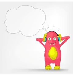 Funny Monster Listening to Music vector image