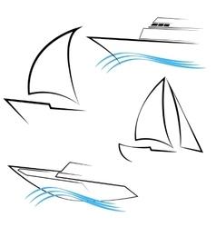 Line Yachts Symbols vector image
