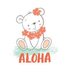 little bear with hibiscus flowers vector image vector image