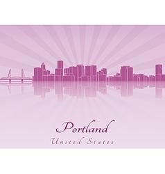 Portland skyline in purple radiant orchid vector image