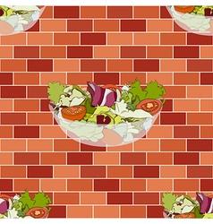 Salad Bowl on Red Orange Brick Wall vector image vector image