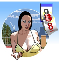 sexy girl with big breasts eighth of March vector image vector image