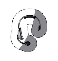 sticker colorful headphones communication icon vector image