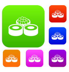 sushi set collection vector image vector image