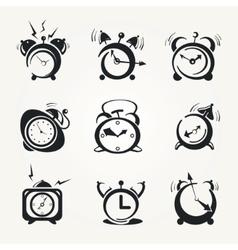 alarm clock black icons vector image vector image