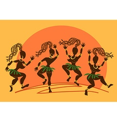 Dancing African aborigine girls at sunset vector image vector image