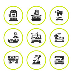 set round icons of machine tool vector image