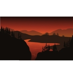 Silhouette of lake with brown backgrounds vector image