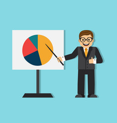 Successful businessman making a presentation vector