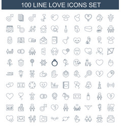 100 love icons vector