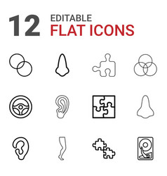 12 part icons vector image
