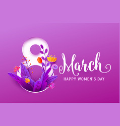 8 march happy womens day greeting banner vector image
