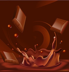 Abstract chocolate splash background - vector