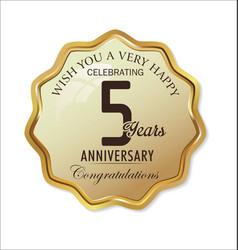 Anniversary retro label 5 years vector