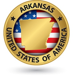 Arkansas state gold label with state map vector image
