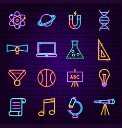back to school neon icons vector image