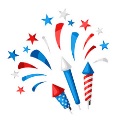 Background with bright colorful fireworks and vector
