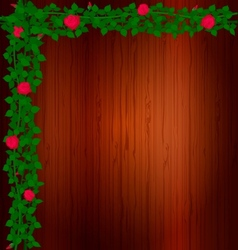 Background wood and rose vector