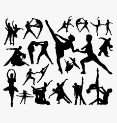 ballerina dance competition silhouette vector image