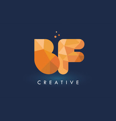 Bf letter with origami triangles logo creative vector