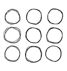 black doodle sketched circles collection grunge vector image
