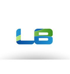 Blue green lb l b alphabet letter logo vector