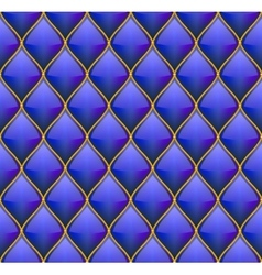 Blue with Gold Quilted Leather Seamless Background vector image