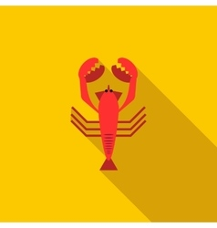 Boiled red crayfish icon flat style vector image