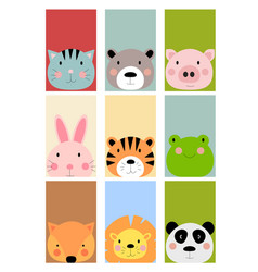 card with cute hand drawn animals characters vector image