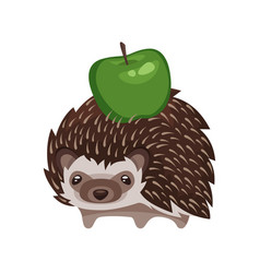 cartoon style of hedgehog with green apple vector image
