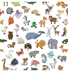 Children drawings doodle animals seamless pattern vector