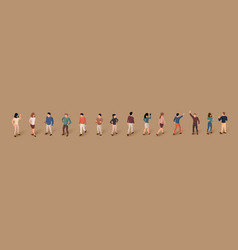 collection isometric people isolated over vector image