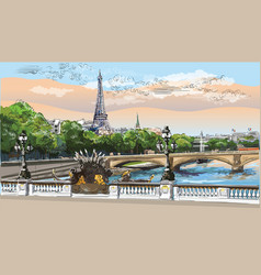 colorful hand drawing paris 8 vector image