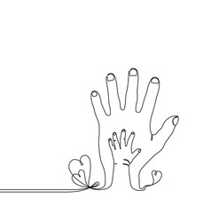 continuous line drawing bachild parent hand vector image