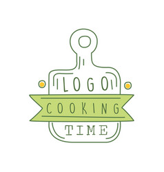 Cooking time logo original design with cutting vector