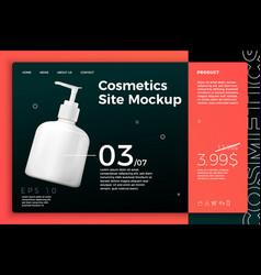 Cosmetic pump bottle modern site template vector