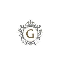Crown leaf logo initial g vector