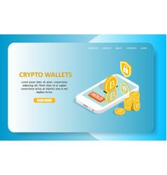 Crypto wallets landing page website vector